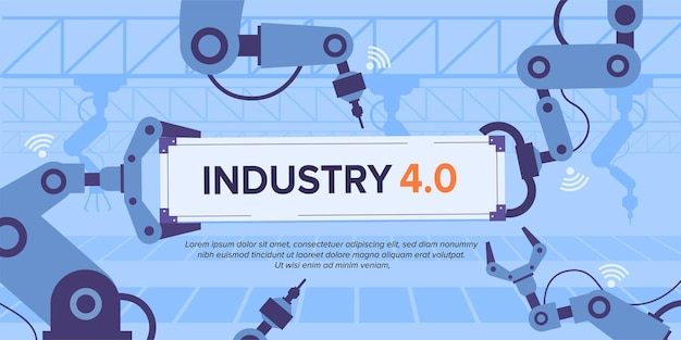 Industry 4.0 banner with robotic arm.