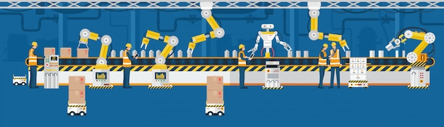 Концепция индустрии 4.0, автоматизированная производственная линия с рабочими.