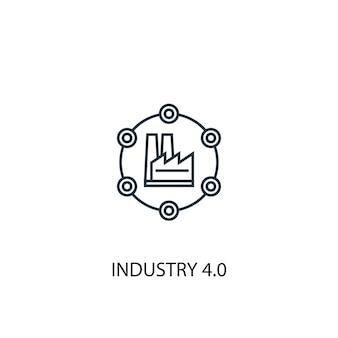 インダストリー4.0コンセプトラインアイコン。シンプルな要素のイラスト。インダストリー4.0コンセプトアウトラインシンボルデザイン。 webおよびモバイルui / uxに使用できます