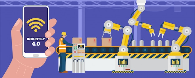 Industry 4.0 개념, 작업자는 스마트 폰을 사용하여 공장에서 산업용 로봇 팔을 제어합니다.