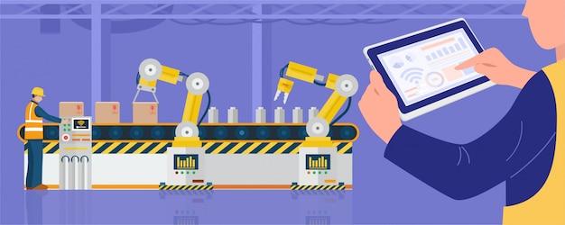 Концепция индустрии 4.0, рабочий с помощью планшета управляет промышленными роботами на заводе.
