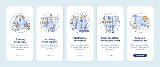 개념이있는 모바일 앱 페이지 화면을 온 보딩하는 industry 4.0 목표. 생산 촉진, 비즈니스 자동화 워크 스루 5 단계. rgb 색상이있는 ui 템플릿