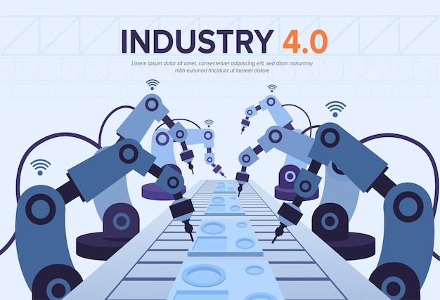 Industry 4.0 illustration with robotic arms.