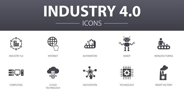 インダストリー4.0のシンプルなコンセプトアイコンを設定します。インターネット、自動化、製造、コンピューティングなどのアイコンが含まれており、web、ロゴ、ui / uxに使用できます
