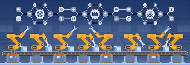 Industry 4.0 smart factory concept. technology illustrati