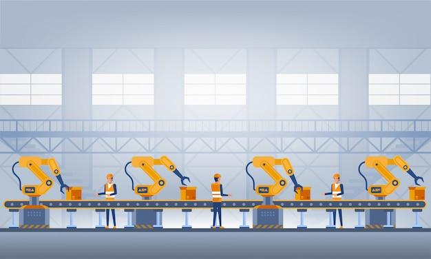 Industry 4.0スマートファクトリーコンセプト。技術イラスト