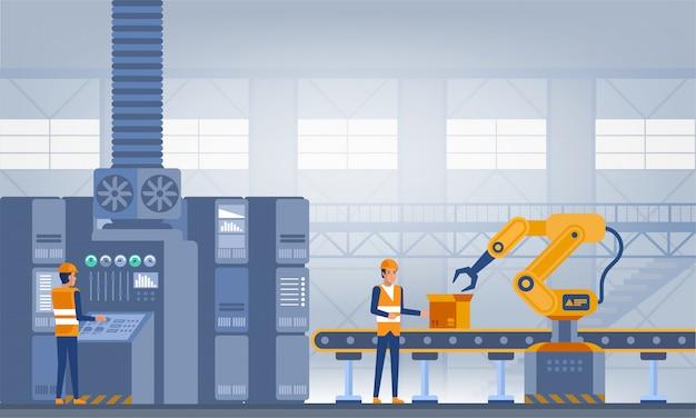 Industry 4.0 스마트 공장 개념. 작업자, 로봇 팔 및 조립 라인. 기술 그림