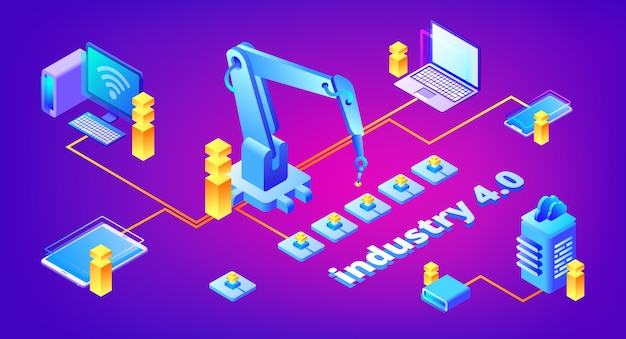 자동화 및 데이터 교환 시스템의 industry 4.0 기술 일러스트레이션