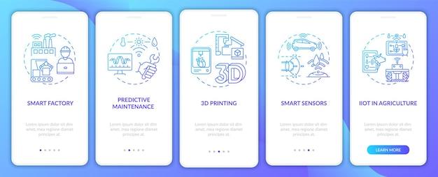 Тенденция индустрии 4.0: использование концепций на экране страницы мобильного приложения. 3d-печать, iiot в сельском хозяйстве: пошаговое руководство, 5 шагов, шаблон пользовательского интерфейса с цветными иллюстрациями rgb