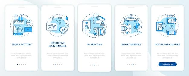 Тенденция индустрии 4.0: использование концепций на экране страницы мобильного приложения. умное сельское хозяйство, 3d-печать, пошаговые инструкции по датчикам. шаблон пользовательского интерфейса с цветом rgb
