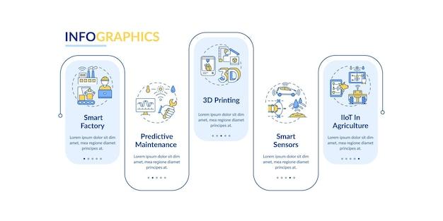Industry 4.0 트렌드 infographic 템플릿. 유지 보수, 스마트 센서 프레젠테이션 디자인 요소. 단계가있는 데이터 시각화. 타임 라인 차트를 처리합니다. 선형 아이콘이있는 워크 플로 레이아웃