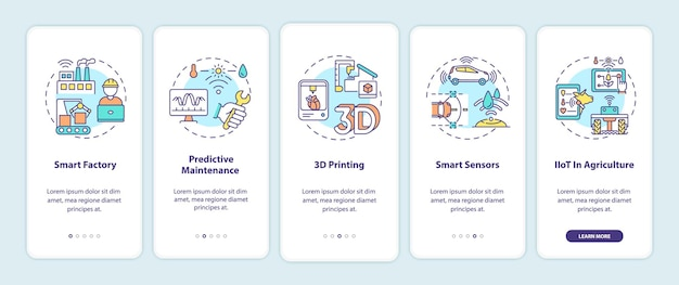 Тенденции индустрии 4.0 на экране страницы мобильного приложения с концепциями. умная фабрика, 3d-печать, умные датчики - 5 шагов. шаблон пользовательского интерфейса с цветом rgb