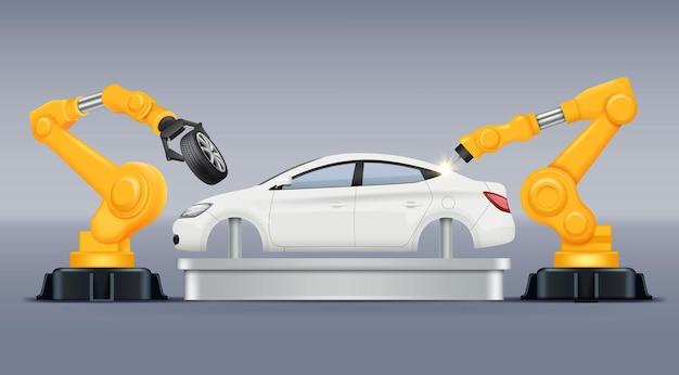 산업 컨베이어. 자동차 생산 제조 프로세스는 자동차 생산 자동차 작업을 돕는 로봇 팔을 처리합니다.