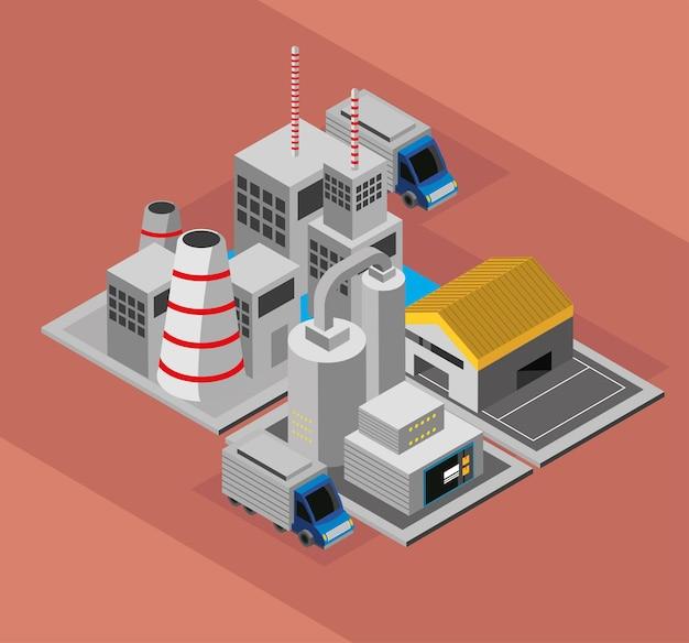 産業工場とトラック