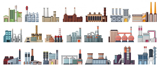 Industry factory isolated cartoon set icon.   cartoon set icon manufacturing of building.