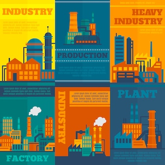 Industry illustrations with text template set