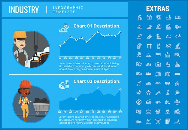 業界インフォグラフィックテンプレート、要素およびアイコン。