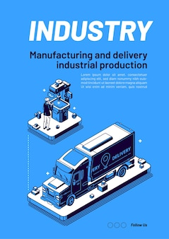 Industry isometric banner manufacturing
