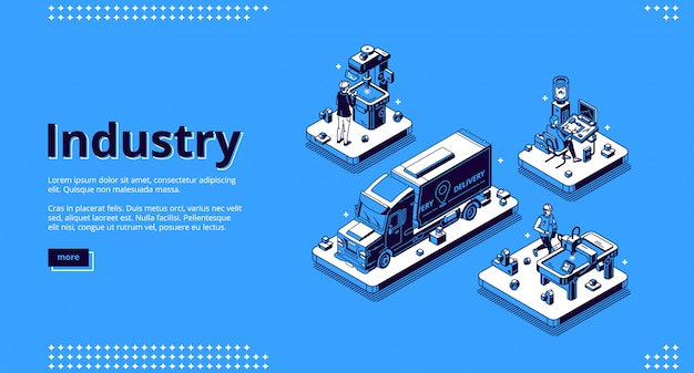 Industry isometric landing page, manufacturing