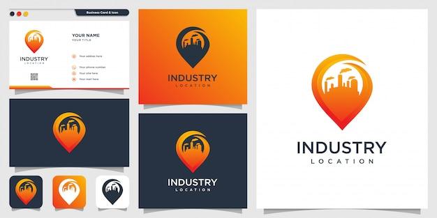 業界のロゴの場所と名刺のデザインテンプレート、業界、建物、ピン、場所
