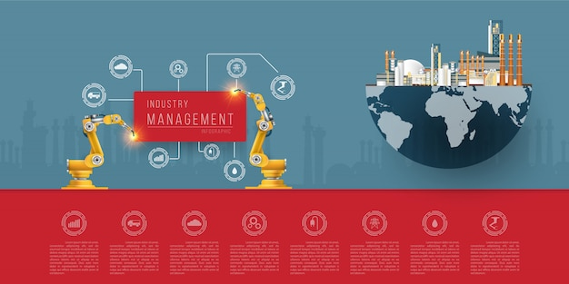 Industry robotic, infographic and intelligent manufacturing concept.