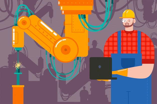Industry vector cartoon concept illustration of a factory with robot welder and an engineer with a laptop.