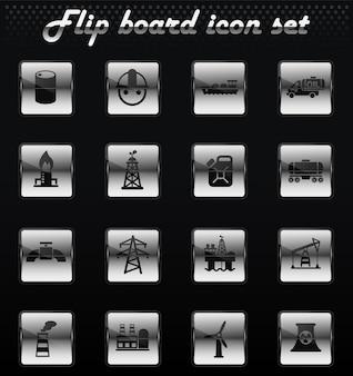 Промышленные векторные флип механические иконки для дизайна пользовательского интерфейса