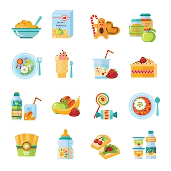 Infant baby food flat icons set