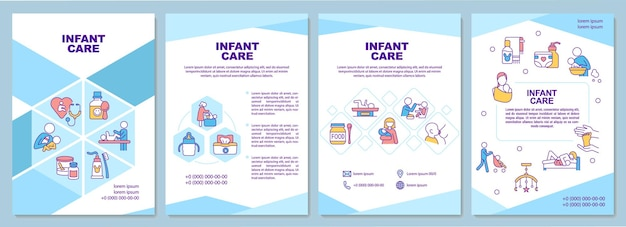 Infant care brochure template. baby health care. nappy changing. flyer, booklet, leaflet print, cover design with linear icons. vector layouts for presentation, annual reports, advertisement pages