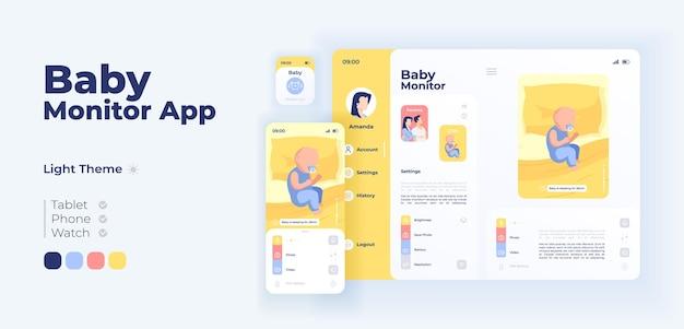 Шаблон адаптивного дизайна вектора экрана приложения помощи младенческой помощи. интерфейс дневного режима приложения удаленного наблюдения за ребенком с плоскими персонажами. безопасность новорожденных. смартфон, планшет, умные часы с мультяшным интерфейсом