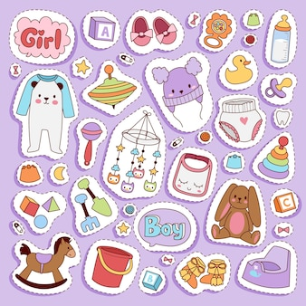 유아 작은 신생아 옷과 장난감 아이콘 세트 디자인 섬유 캐주얼 직물과 유아 드레스