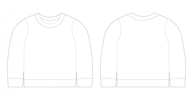 Infant t-shirt illustration. sweatshirt sketch template front and back view. baby clothes.