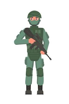 보병 군사 캐릭터 위장 방탄복 얼굴 마스크와 헬멧 서 흰색에 고립 된 용감한 남자 보병 손에 돌격 소총을 들고