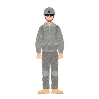 전투복, 헬멧, 안경을 쓴 미국 군대의 보병