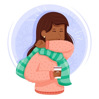 Infected woman coughing illustration