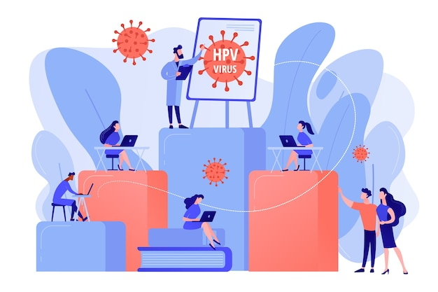 Infection prevention and treatment learning. hpv education programs, human papillomavirus education course, hpv online consultation concept. pinkish coral bluevector vector isolated illustration
