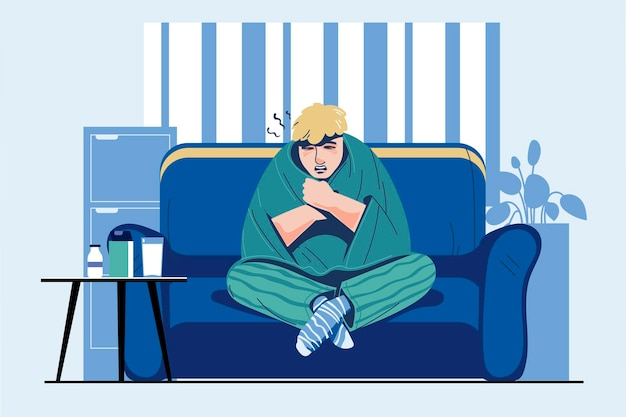 Infections and flu season with sick people illustration