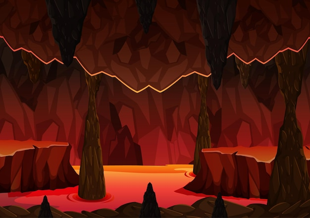 용암 장면이있는 지옥 불의 어두운 동굴