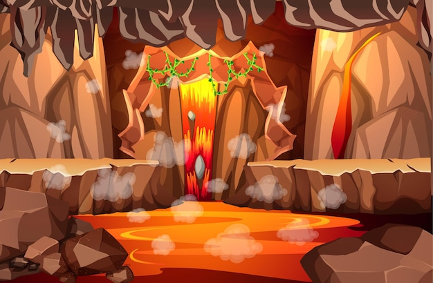 Infernal dark cave with lava scene