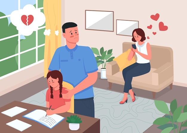 Infidelity problem in family flat color illustration
