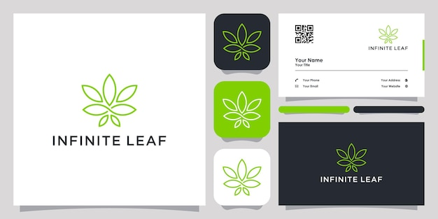 무한 대마초 잎 로고 아이콘 기호 템플릿 로고 및 명함