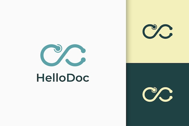 Infinite or loop logo in stethoscope shape symbol of medic or health
