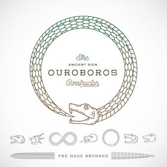 無限のウロボロスのヘビのシンボル、サイン、またはラインスタイルのロゴコンストラクター。