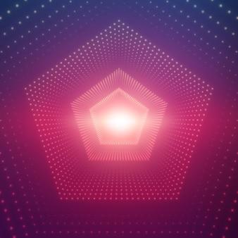 Бесконечный пятиугольный туннель сияющих вспышек на фиолетовом фоне