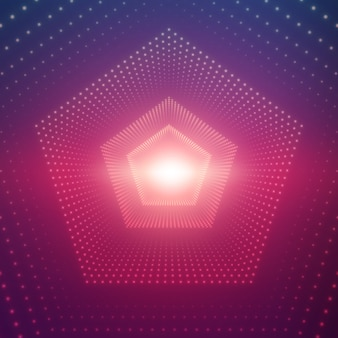 Infinite pentagonal tunnel of shining flares on violet background