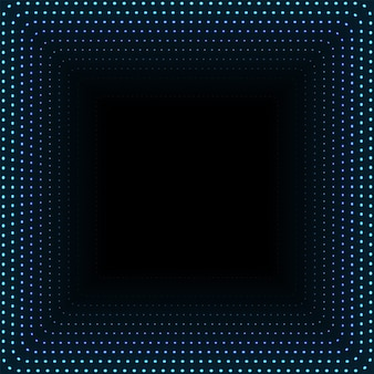 輝くドットの無限の正方形のトンネル。抽象的なサイバー技術の背景をポイントします。図