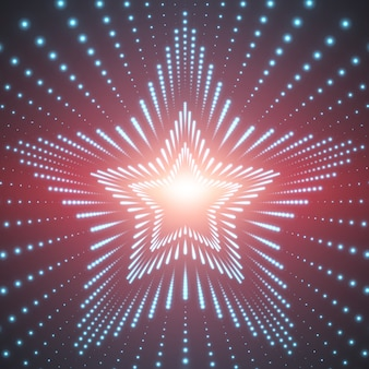 Infinite star tunnel of shining flares on red background