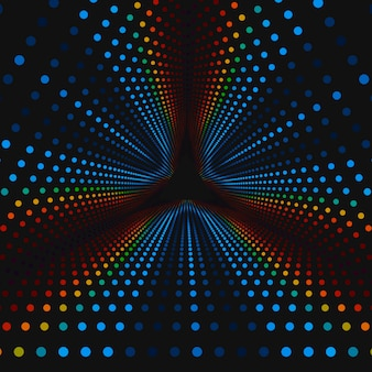 Infinite triangular tunnel of colorful circles on dark background. spheres form tunnel sectors.