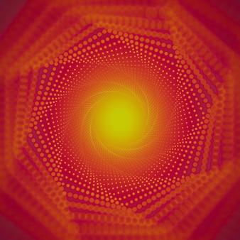 Бесконечный туннель сияющих вспышек на красном фоне с малой глубиной резкости.