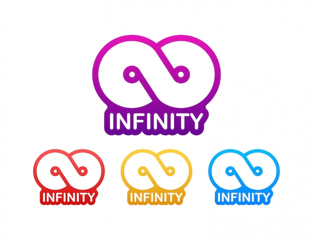 Infinity in abstract style on white background. round logo. future concept. stock illustration.